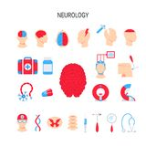 Neurology vector icons. Set of neurology icons in flat style, vector illustration stock illustration
