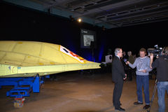 NEURON. Saab delivers the hull of the new unmanned stealthfighter nEUROn to French manufacturer Dassault at a ceremony at the Saab plant in Linköping on January Royalty Free Stock Photos