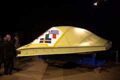 NEUROn. The hull of the new UCAV (Unmanned Combat Aerial Vehicle) nEUROn. The hull was delivered from Saab in Linköping to French airplane maker Dassault at an Royalty Free Stock Images