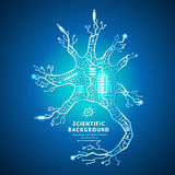 Neuron as an electrical circuit. On a blue background, brain cell of the wires, battery powered vector illustration