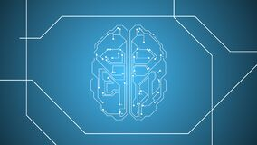 HUD frame wired human brain with electric impulses flashing over blue background.