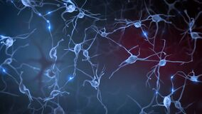 Brain Neurons and Synapse Activity animation. Electrical impulses inside the human brain