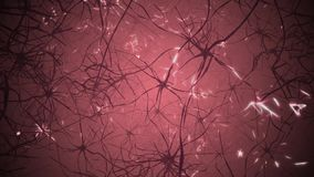 Neuronen in hersenen 3D het van een lus voorzien animatie van neuraal netwerk stock illustratie