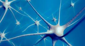 Neuronen im Gehirn, Illustration 3D des neuralen Netzes Stockfotografie
