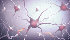 Neurones. Inside the brain. Concept of neurons and nervous system Stock Photo