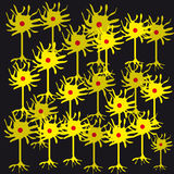 Neurones på svart bakgrund royaltyfri illustrationer