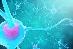 Neurons in the brain on blue background. 3d illustration Royalty Free Stock Photo