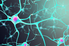 Neurons in the brain with a nucleus inside on black background. 3d illustration stock photo