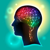 Neurons in the Brain. Profile of a human head with a colorful symbol of neurons in the brain royalty free illustration