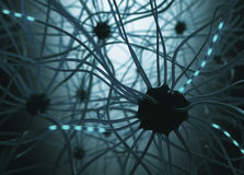 Neurons Concept. Image concept of neurons interconnected in a complex brain network Royalty Free Stock Photo