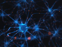 Neurons Electrical Pulses. 3D illustration of Interconnected neurons with electrical pulses Stock Image