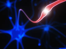 Neurons Electrical Pulses. 3D illustration of Interconnected neurons with electrical pulses Stock Images
