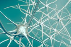 Neurons i hjärnan, illustration 3D av det nerv- nätverket stock illustrationer