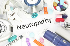 Neuropathy. Concept photo with medical supplies Royalty Free Stock Photography