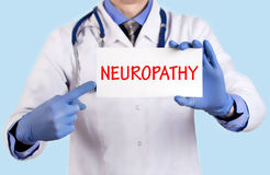 Neuropathy. Doctor keeps a card with the name of the diagnosis – neuropathy. Selective focus. Medical concept Royalty Free Stock Photography
