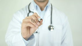 Neuropathy, Doctor Writing on Transparent Screen. Man writing stock footage