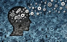 Neuroscience Development. And training concept as a group of cog wheels and gears shaped as human head with information transfer as a technology brain symbol or Royalty Free Stock Images
