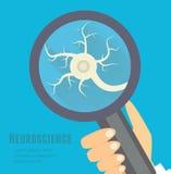 Neuroscience mieszkania ilustracja Układu nerwowego badawczy pojęcie Zdjęcia Royalty Free
