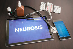 Neurosis (neurological disorder) diagnosis medical concept on ta. Blet screen with stethoscope Stock Photo