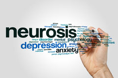 Neurosis word cloud concept. Neurosis word cloud on grey background Royalty Free Stock Photo