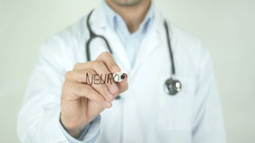 Neurosurgery, Doctor Writing on Transparent Screen. Man writing stock footage