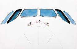 Neus van passagiersvliegtuig. Stock Foto