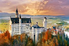 Neuschwanstein, beautiful fairytale castle near Munich in Bavari stock images
