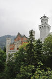 Neuschwanstein behind trees_vertical Stock Photo