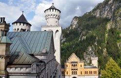 Neuschwanstein Castle. Unusual perspective on the fairy tale castle Neuschwanstein stock image