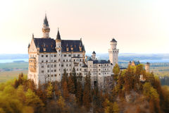 Neuschwanstein Castle. Castle Neuschwanschtein in autumn scene.Neuschwanstein Castle, or New Swan Stone, a dramatic Romanesque fortress with Byzantine Stock Photography