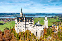 Neuschwanstein Castle in autumn Germany, Bavaria landscape Stock Images