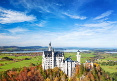 Neuschwanstein Castle in autumn Landmark Germany Bavaria Stock Images