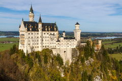 Neuschwanstein Castle in Autumn Sunny Day-Germany stock images