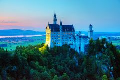 Neuschwanstein castle in Bavaria, Germany. At sunset stock images