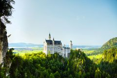 Neuschwanstein castle in Bavaria, Germany. On a sunny day stock images