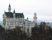 Neuschwanstein castle, Bavaria, Germany. White Swan Castle in winrer time Stock Photography