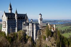 Neuschwanstein Castle, Bavaria. New Swanstone Castle is a nineteenth-century Romanesque Revival palace on a rugged hill above the village of Hohenschwangau near royalty free stock photo