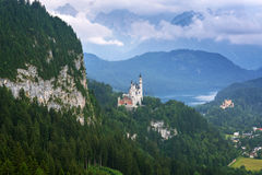 Neuschwanstein Castle in the Bavarian Alps Royalty Free Stock Images