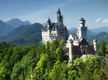 Neuschwanstein castle in Bavarian alps, Germany. View on Neuschwanstein castle, Bavaria royalty free stock photo