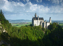 Neuschwanstein castle in Bavarian alps, Germany. View on Neuschwanstein castle, Bavaria Royalty Free Stock Images