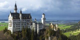 Neuschwanstein castle in Bayern. View of castle Neuschwanstain, Germany stock image