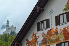 Neuschwanstein Castle Beyond a Mural Royalty Free Stock Photography