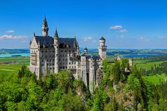 Neuschwanstein Castle & Blue Sky Stock Photography