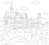 Neuschwanstein Castle. Coloring book for kids Stock Photo