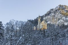 Neuschwanstein Castle early morning in Fussen stock photos