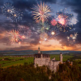 Neuschwanstein castle and fireworks Royalty Free Stock Photos