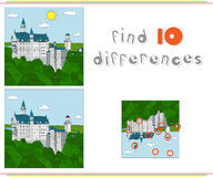 Neuschwanstein Castle. Game for kids: find ten differences Royalty Free Stock Photos