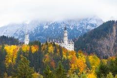 Neuschwanstein castle in Germany in autumn Stock Photos