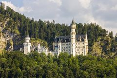 Neuschwanstein Castle, Germany. Schloss Neuschwanstein New Swanstone Castle, a 19th-century Romanesque Revival palace commissioned by Ludwig II of Bavaria near stock photography