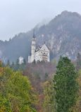 Neuschwanstein castle in Germany. View with mountains. Raining frog mood Stock Photos